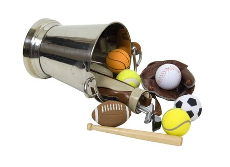 satisfy: Silver bucket full of sports equipment to satisfy everyones desires