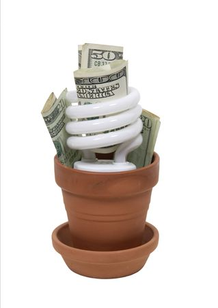 going green: Going green to help preserve our natural resources shown with spiral lightbulb in clay pot with large amounts of money Stock Photo