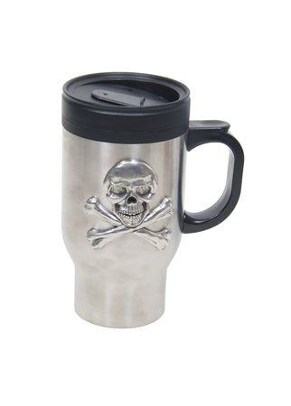Stainless steel skull travel mug for drinking or holding items