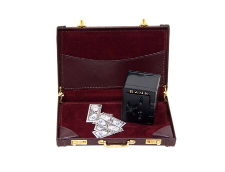 Business finances shown by a secure bank vault for storing money and items of value in a briefcase Stock Photo - 5177493