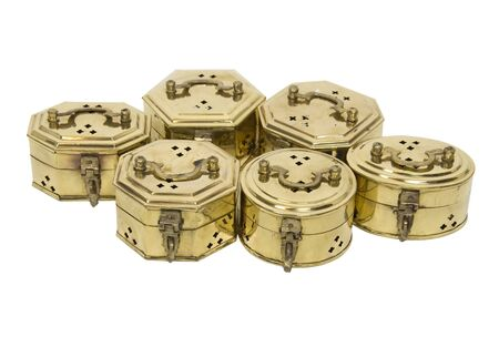 Intricate cricket boxes made of brass with fancy hardware