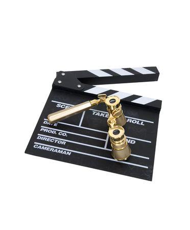 Oro modernas gafas de ópera que se utiliza para ver películas en la gran pantalla  Foto de archivo - 5177486