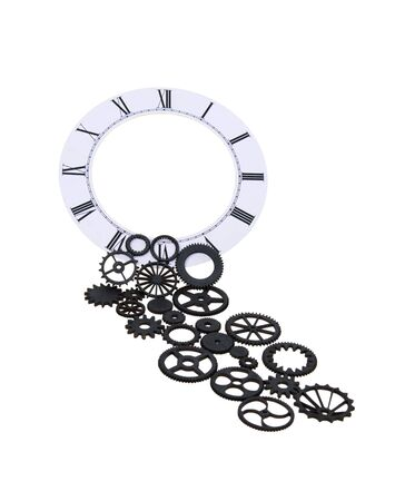 interlink: Time keeps running shown by gears pouring from a formal clock face used to tell time