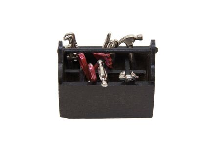 sturdy: Miniature sturdy wooden toobox used for storing various tools  Stock Photo