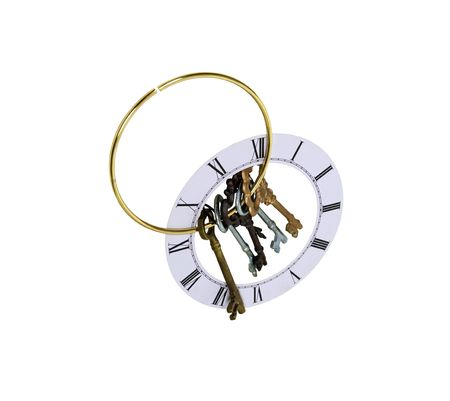 Keys representing unlocking an idea, treasure, love or time on a clock face