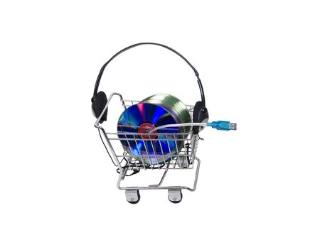 Online shopping for music from the convenience of your computer - included Stock Photo - 5222353