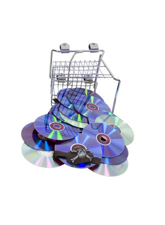 Online shopping shown by disks spilling from a shopping cart - included