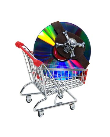 hijack: Pirating software as shown by bright DVDs covered with an eye patch in a shopping cart - included