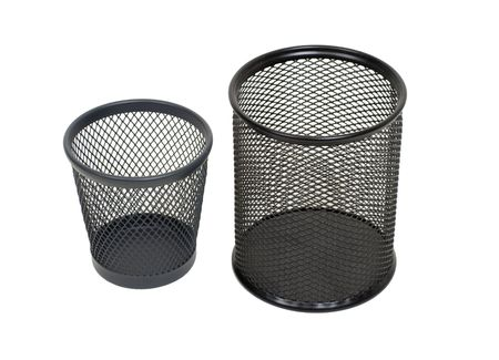 Fancy garbage bins used to hold items to be reduced and reused to help the environment - included