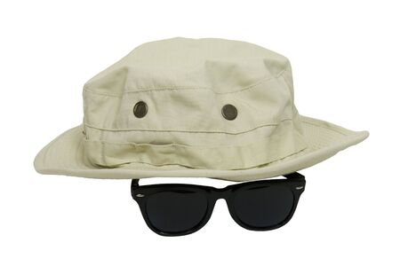 Floppy leisure hat and sunglasses for avoiding sunburn while out in the sun - included