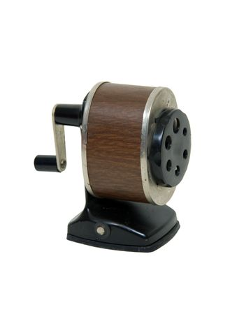 crank: Antique school pencil sharpener with a manual turn crank - included Stock Photo