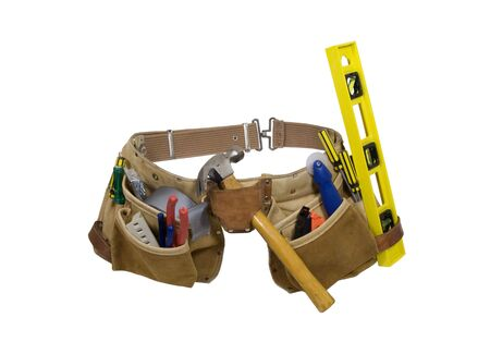 tooled: Leather tool belt for carrying items conveniently while working - included