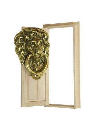 oversized: Big entrance as shown by an oversized but traditional lion door knocker to add a sense of class to the entrance of the building - included Stock Photo