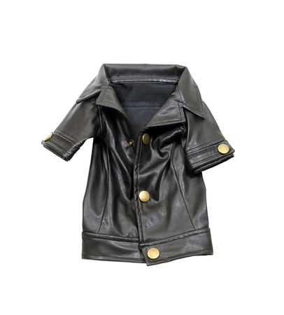 Black leather coat that goes with every outfit - included Stock Photo - 5258517