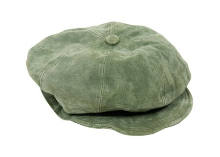 Green suede leisure hat for fashion and protection from the sun - included Stock Photo