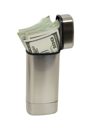 sleek: Sleek small brushed silver container for storing a saved nest egg of money - included