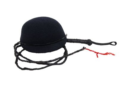 Retro black felt riding cap for equestrian events with a leather whip - included Stock Photo - 5258519