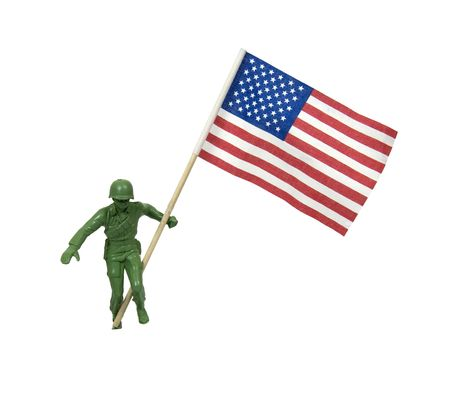 Soldier as represented by a green plastic model waving an American Flag - included