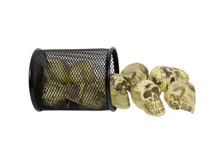 Metal mesh garbage container for rubbish and discarded items full of skulls to displays that heads will roll