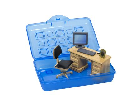 Portable office as shown by a wooden desk with computer and assorted personal items in a plastic carrying case - included