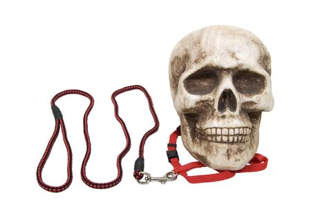 Keeping fears at bay as shown by a skull on a leash Stock Photo
