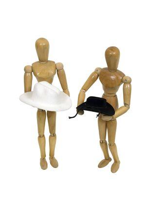 protection individuelle: Chapeaux de cow-boy noir et blanc utilis� pour la mode et de la protection des personnels