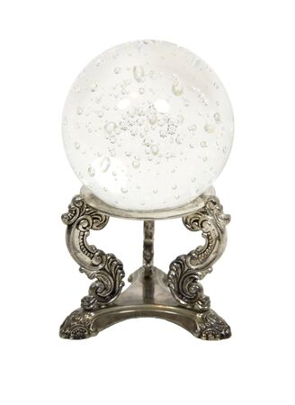 Crystal ball on a silver stand for seeing into the future with miniature bubbles inside