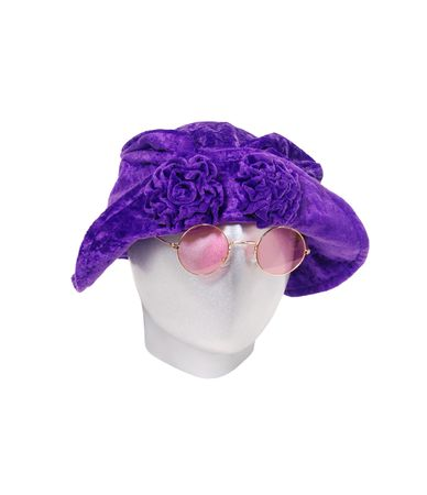 Goorvy Purple floppy leisure hat with coiled flowers on the brim with rose colored glasses Stock Photo