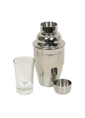 martini shaker: Mini martini shaker and glass for blending drinks on the go