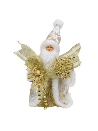 Santa claus in a white robe with golden stars holding ribbons and beads photo
