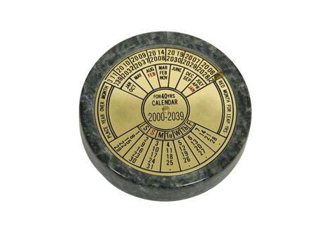 真鍮と大理石で作られた永続的な卓上カレンダー