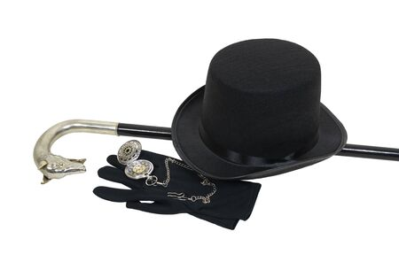 top: Top hat, cane, pocket watch and gloves give a sophisticated look for formal events