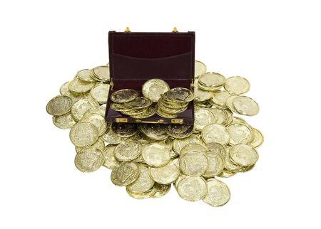 rentable: Negocio rentable mostrada por un malet�n rebosantes de monedas de oro