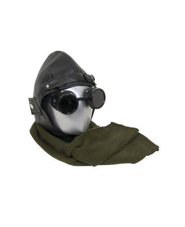 Aviator kit consisting of black leather aviation cap, goggles and a long scarf
