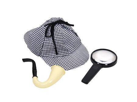Detective Sherlock Holmes kit bestaande uit kalebas pijp met Meershaum vergroot glas, kom en Deerhunter cap  Stockfoto - 5397711