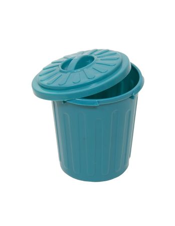 wasteful: Green plastic garbage container for rubbish and discarded items