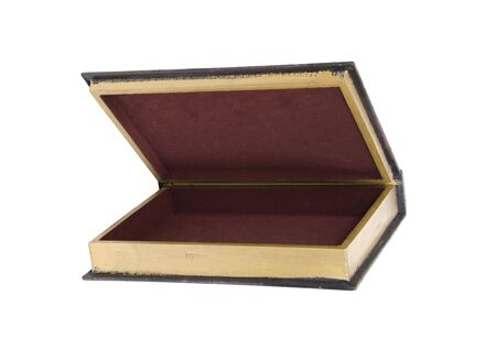 resemble: Large wooden box hollowed and carved to resemble a book for storing items ready to be filled