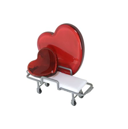 Patient care shown by a large red heart taking care of a smaller heart on a gurney - path included Stock Photo
