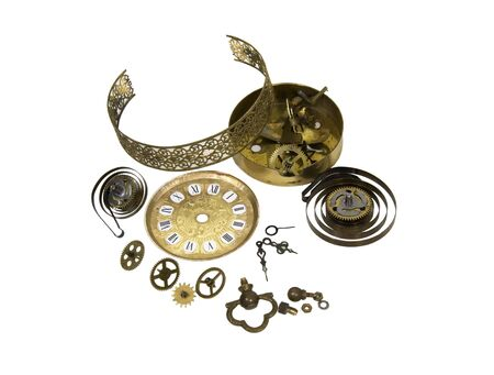 Time to repair shown by an antique clock in the midst of being repaired - path included