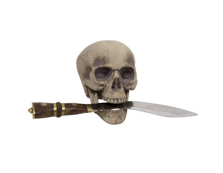 showed: Danger showed by skull with a large dagger in the teeth