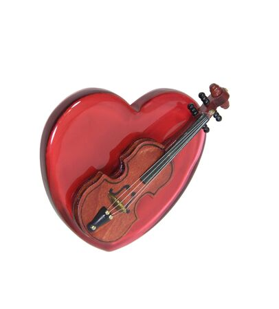 Love of music shown by a violin on a big red glass heart Stock Photo - 5471435