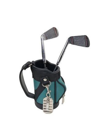 identifier: Military games shown by dog tags used as an identifier in lieu of cards hanging off of golf bag with clubs Stock Photo