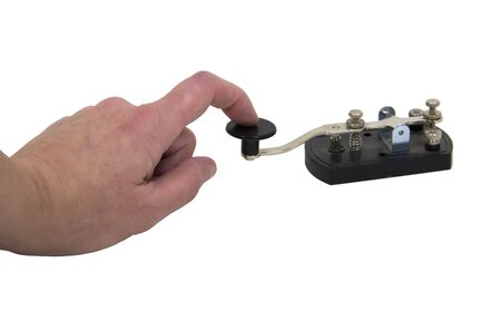 telegraphy: Using an antique telegraph key used as a retro communication device for Morse Code