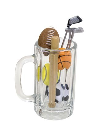 stein: Sports spectator kit consisting of traditional beer stein filled with various sports items  Stock Photo
