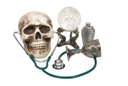 foresee: Medical future shown by a stethoscope with a crystal ball, flask and goblet