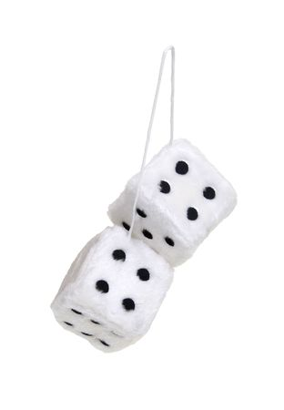 fuzzy: Fuzzy dice that are usually hung from the rear view mirror of a car