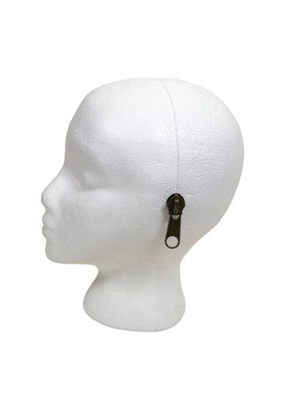 White head for modeling accessories and clothing with a blank face with a zipper along the side to unlock what is inside