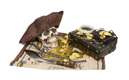 booty: Pirate Skull with gold, jewelry, treasure and other booty -  Stock Photo