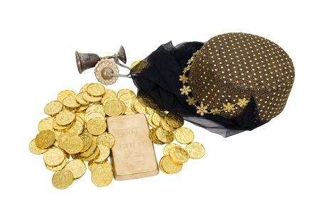 loot: Arabian nights gold and harem headwear with sequins and a veil - path included Stock Photo