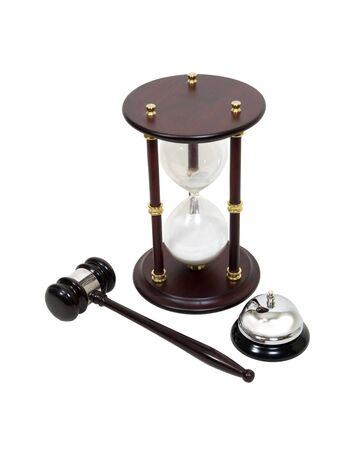 legal services: Time for legal services shown by hour glass, gavel and service bell - path included